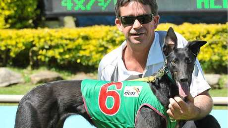 ABOVE: Greyhound She Goes Woosh and owner/trainer Jason Fredericks are aiming for a big win at Casino's Thursday meeting.