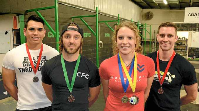 QUALIFIERS: Shane Orr, Sean O'Neil, Emma Zawila and Dave Capill all won medals at the Queensland Weightlifting Championships and are off to the nationals.