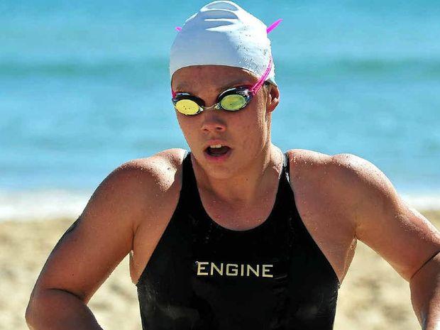 STAMINA PLUS: Wurtulla's Chelsea Gubecka wins the Noosa 2km elite swim in April this year.