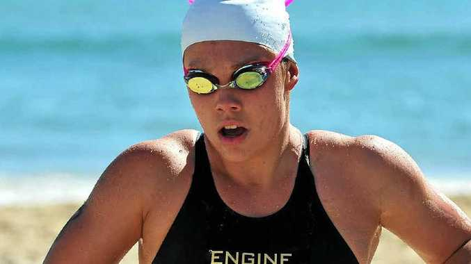 STAMINA PLUS: Wurtulla's Chelsea Gubecka wins the Noosa 2km elite swim in April this year.