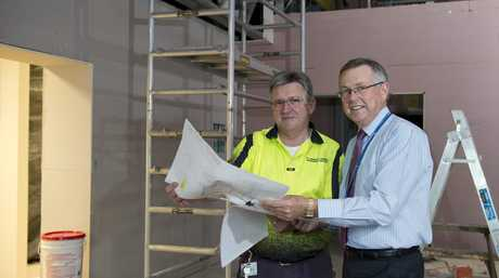 St Andrew's Hospital engineering services manager Kenn Zerner (left) and CEO Ray Fairweather in what will be a state-of-the-art operating theatre.