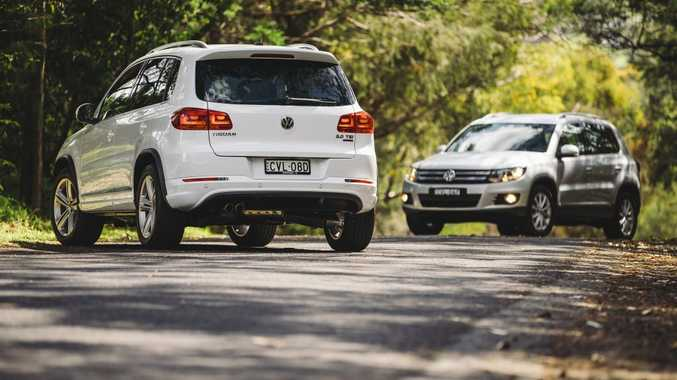 New to the Tiguan range are the improved 130 kilowatt diesel (left) and a 155 kilowatt petrol R-Line model.