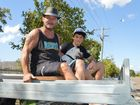 Rob Stokley, his son Reagan and their dog April were spectators along busy Ross River Road. Townsville Convoy for Kids, Sunday October 19 Photo Alf Wilson / Big Rigs