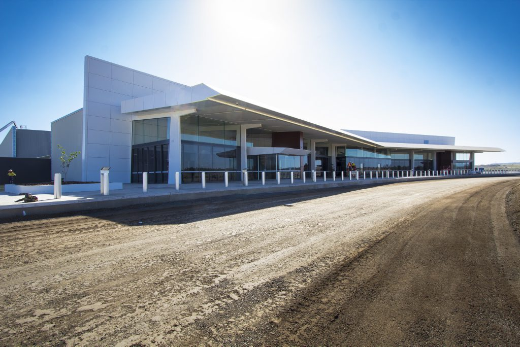 Works on the Brisbane West Wellcamp Airport terminal are almost complete.