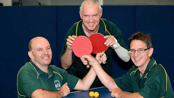 GREAT FACILITY: Ipswich table tennis regulars (from left) David McCosh, Gerard Marsh and Shane Shipperley welcome newcomers to their club.