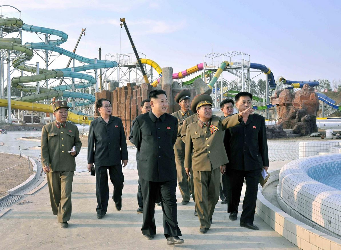 North Korean leader Kim Jong-un (centre) touring the construction site of the Munsu Swimming Complex in Pyongyang, North Korea back in September