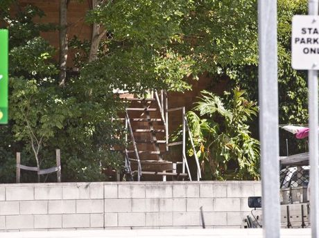 A man was found dead at the bottom of these stairs at the rear of the Drayton Tavern.