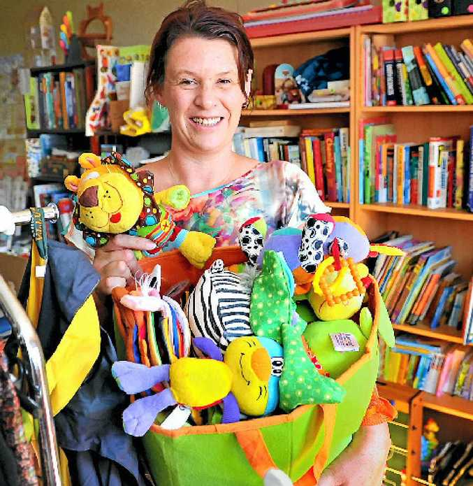 ALL SET: Sam Sullivan is ready to sell her junk to the garage sale hunters today.