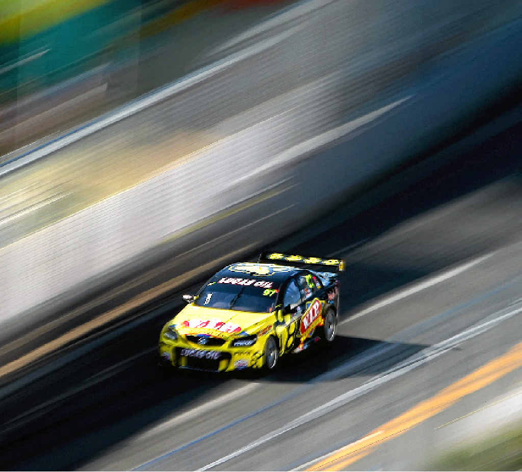 Shane van Gisbergen drives his Holden during practice for the Gold Coast 600 at the Surfers Paradise.