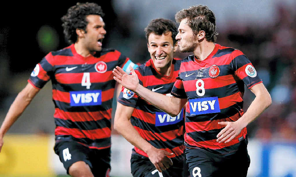 Mateo Poljak of the Wanderers celebrates scoring a goal during the Asian Champions League semi final match against FC Seoul.