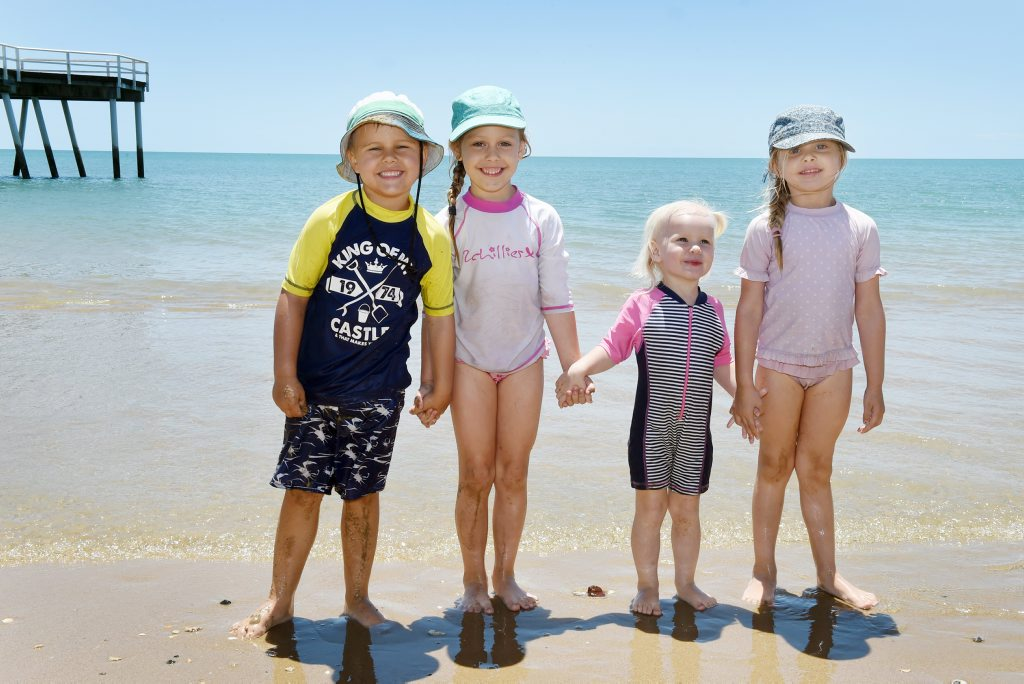 The MacReady children enjoy a day on the beach with their cousins - Oliver, Lacey, Stella and Rylee.