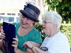 Protest organisers Simone McArdle and Mary Bird Skype with actors Noni Hazlehurst and Ben Winspear via Skype.