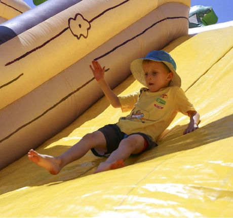 Harry Bear hits the slopes on the inflatable slide at the show on Saturday.
