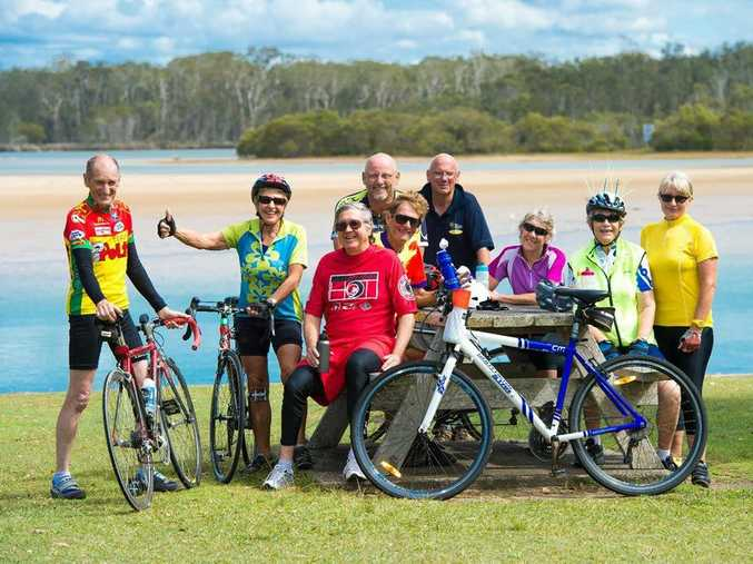 EASY RIDERS: Northern Beaches cyclists Lance Cousins, Joan Wehrens, Geofery Snodgrass, Chris Edwards, Steve Hayward, Jim Lawry, Janine Cairns, Tineke Wallace and Leslie Pitt. Photo: Trevor Veale / Coffs Coast Advocate