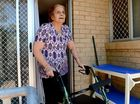 Swooping butcher bird targets pensioner with walking frame