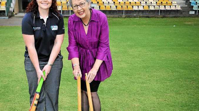 BATTING FEAST: ICC representative Laura Piekarski with Lismore mayor Jenny Dowell at Oakes Oval earlier this year. Eight teams have been confirmed for the ICC East Asia-Pacific Men's Trophy in Lismore next month.