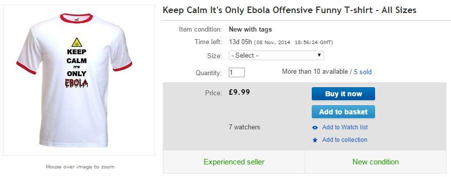 An Ebola t-shirt for sale on eBay