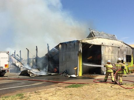 Fire has destroyed a shed at the intersection of Anzac Av and Parker St, Toowoomba.