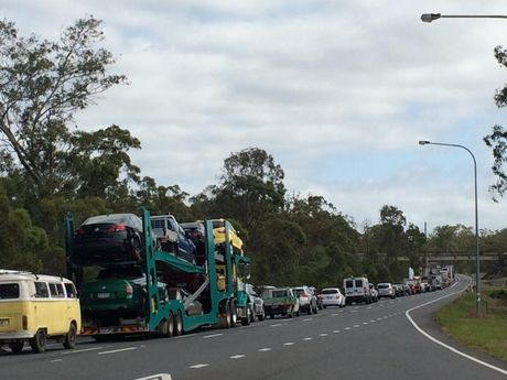 Traffic is banked up on the Bruce Hwy near the scene of a crash north of Maryborough.
