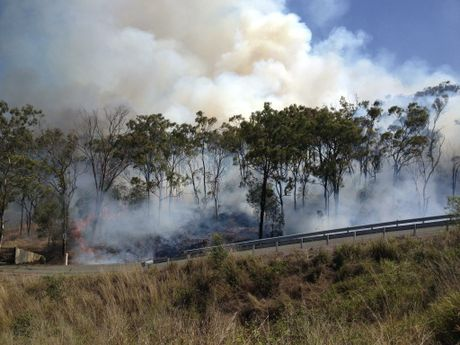 A vegetation fire is burning at the Gladstone-Benaraby Rd end of Kirkwood Rd.