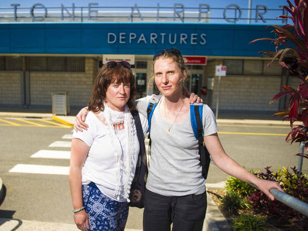 NOT HAPPY: Charlotte Penrose and Greer Banyer missed their flights out of Gladstone on Monday after a boat from Heron Island was late.