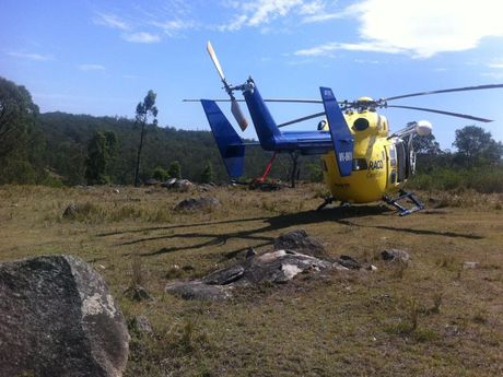 Two people were airlifted by the RACQ rescue chopper after a car rollover at Kilcoy.