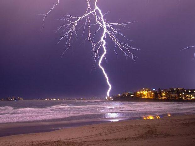 Judd Pickert captured this amazing photo of a lightning strike at Alexandra Headland on the Sunshine Coast on Monday night.