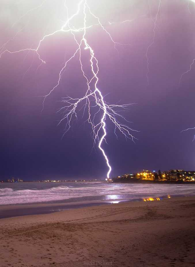 Judd Pickert captured this amazing photo of a lightning strike at Alexandra Headland on the Sunshine Coast on Monday night.