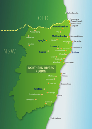 A map of the area covered by Regional Development Australia Northern Rivers.