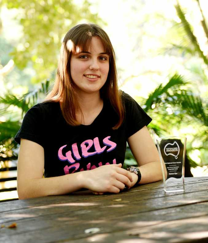 Maddy Dyer won a National Carer Awards for Queensland, winning the Young Carer aged 25 years and under category. Photo Allan Reinikka / The Morning Bulletin
