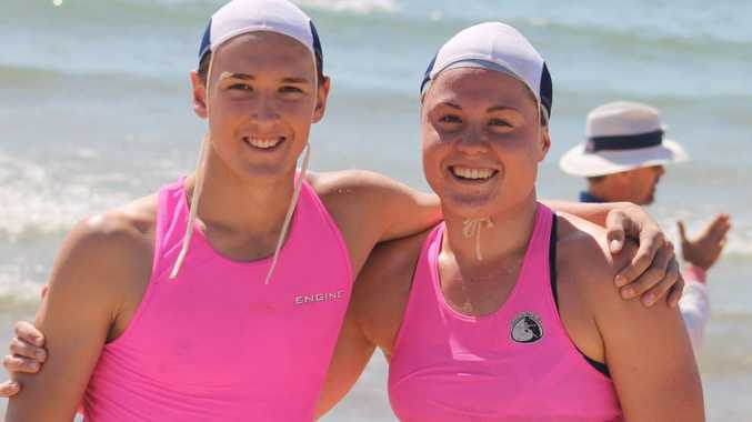 DYNAMIC DUO: Nathan Mitchell and Hannah Thompson after competing in the Surf Swim at the North Australian Titles.