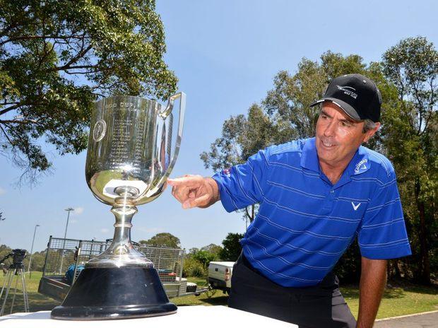 Former golf champion Ian Baker-Finch with the Joe Kirkwood Cup at Twin Waters Golf Club. Photo: Warren Lynam / Sunshine Coast Daily