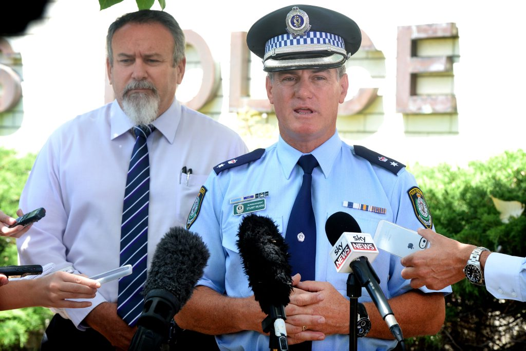 Detective senior constable Gary Sheehan and Tweed Byron LAC supt Stuart Wilkins at the Peter Foster media press conference. Photo: John Gass / Tweed Daily News