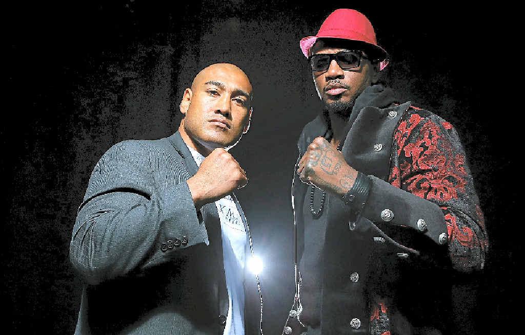 HEAVYWEIGHT CLASH: Alex Leapai and Malik Scott prepare to fight at the Logan Metro Sports Centre on Friday night.