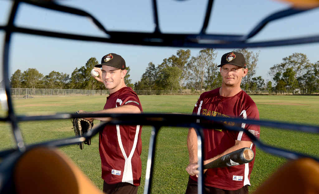 SHARP EYES: Ipswich-based national league baseballers Andrew Campbell (left) and Josh Roberts prepare to play for the Bandits in the new season.