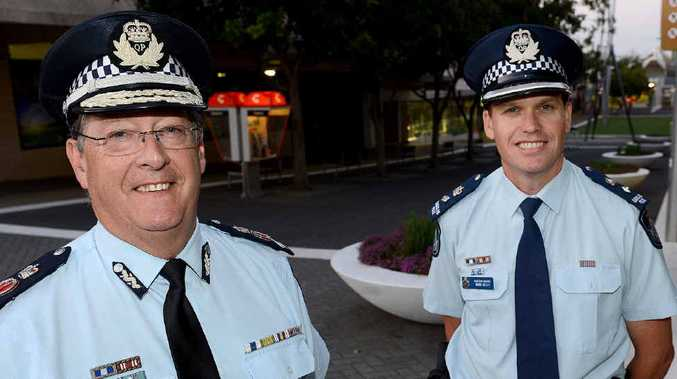 GOOD HELP: Police Commissioner Ian Stewart and Ipswich Superintendent Mark Kelly mark the 20th anniversary of the Safe City program.