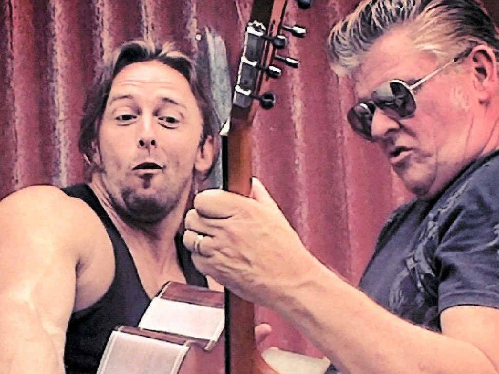 Monster Guitars duo Mark Easton and Adam Hole.