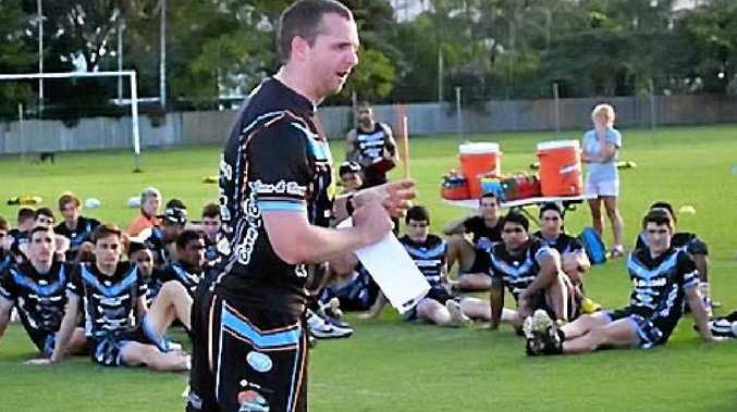 IN COMMAND: Rockhampton's Joe O'Callaghan delivers some instructions to the Northern Pride's junior development teams. O'Callaghan has been announced as the head coach of the Pride's Intrust Super Cup team for the 2015 season.
