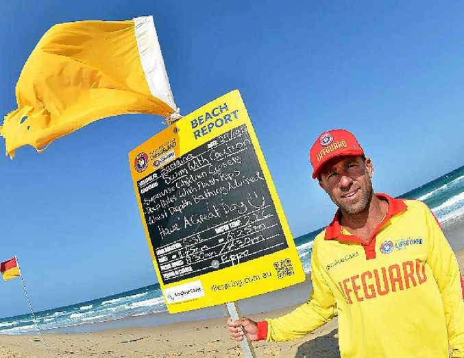 VITAL SERVICE: Sunshine Coast lifeguard Stephen Stewart keeps an eye on the beach.
