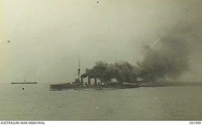 HMAS Minotaur at the front of the convoy formation in early November, with the Ibuki just behind it, spewing out its enormous plumes of black smoke. Courtesy of Australian War Memorial G01549