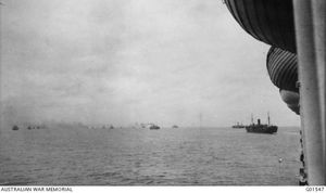 The first Australian and New Zealand convoy cross the Indian Ocean on November 1, in this picture taken by official war historian Charles Bean. Courtesy of Australian War Memorial G01547