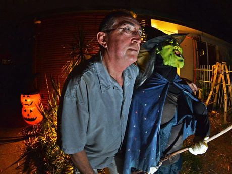 Halloween preview, haunted house at Pacific Paradise. Pictured, Gary Taylor Halloween make up specialist. Photo Patrick Woods / Sunshine Coast Daily