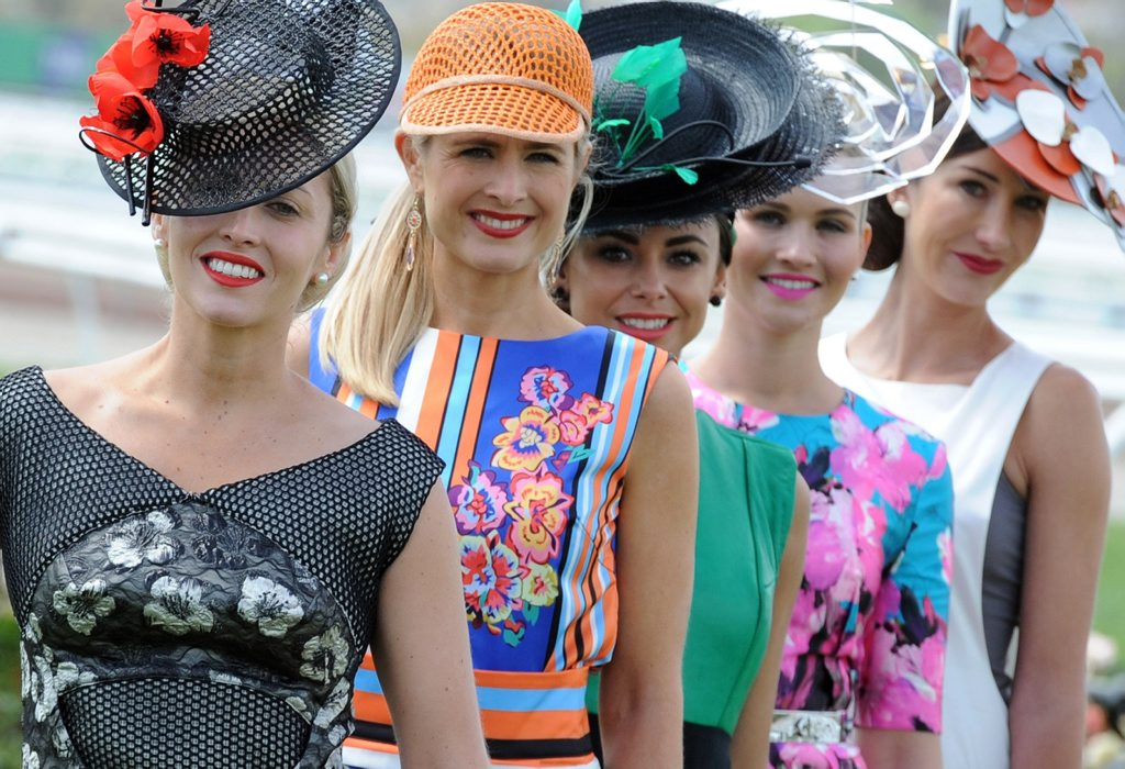 State finalists in the Myer Fashions on the Field competition Nikki Grogan (WA), Stephanie Martin (QLD), Shauna Dennett (NSW), Michelle Boyes (SA) and Brooke Strahran (TAS).