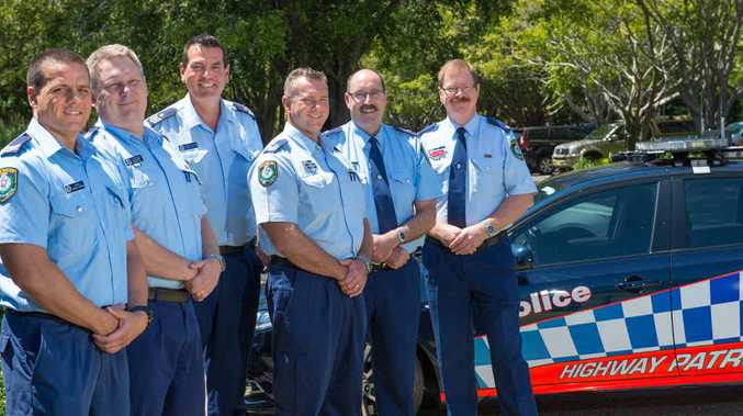 POLICE MATTERS: Highway patrol officers (l-R) Senior Constable Jarrod French, Sergeant Brett Jackson, Sergeant Jarrod Langan, Sergeant Dave Vandergriend with Traffic and Highway Patrol Superintendent Bob Ryan and Chief Inspector Trent Le-Merton.
