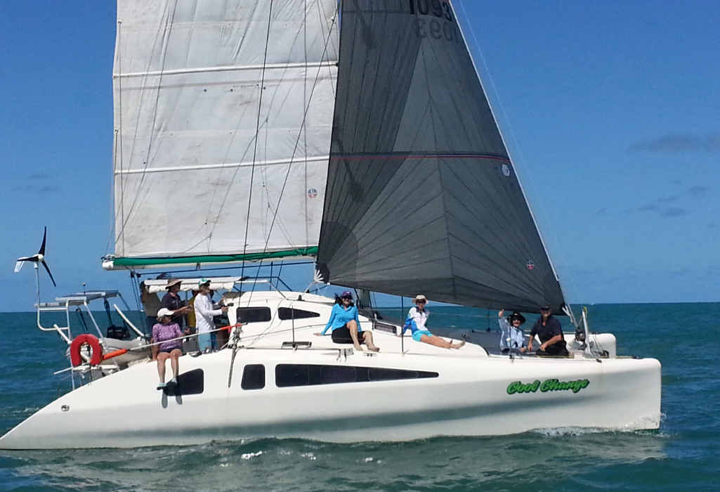A crew enjoying a social Sunday sailing trip with the Mackay Yacht Club.