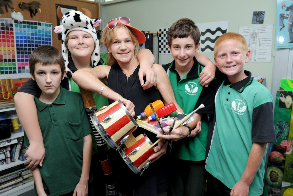 Maryborough Special School teacher Rose Wright (centre), who has been nominated for an Excellence in Teaching Award, pauses for a photo with students Brian Barton, Jessica Stevens, Drew Pershouse-Scott and Dean Harvey.