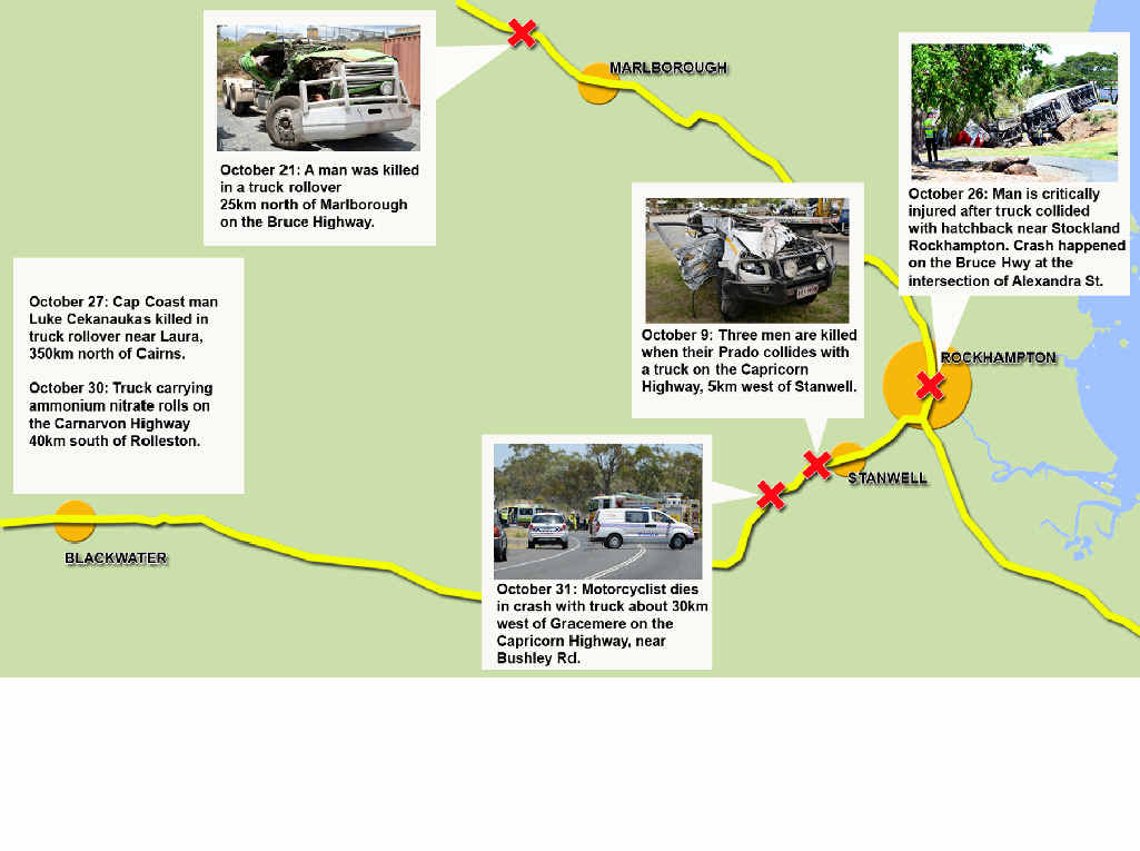 A map shows the sites of serious crashes on Central Queensland roads this month.