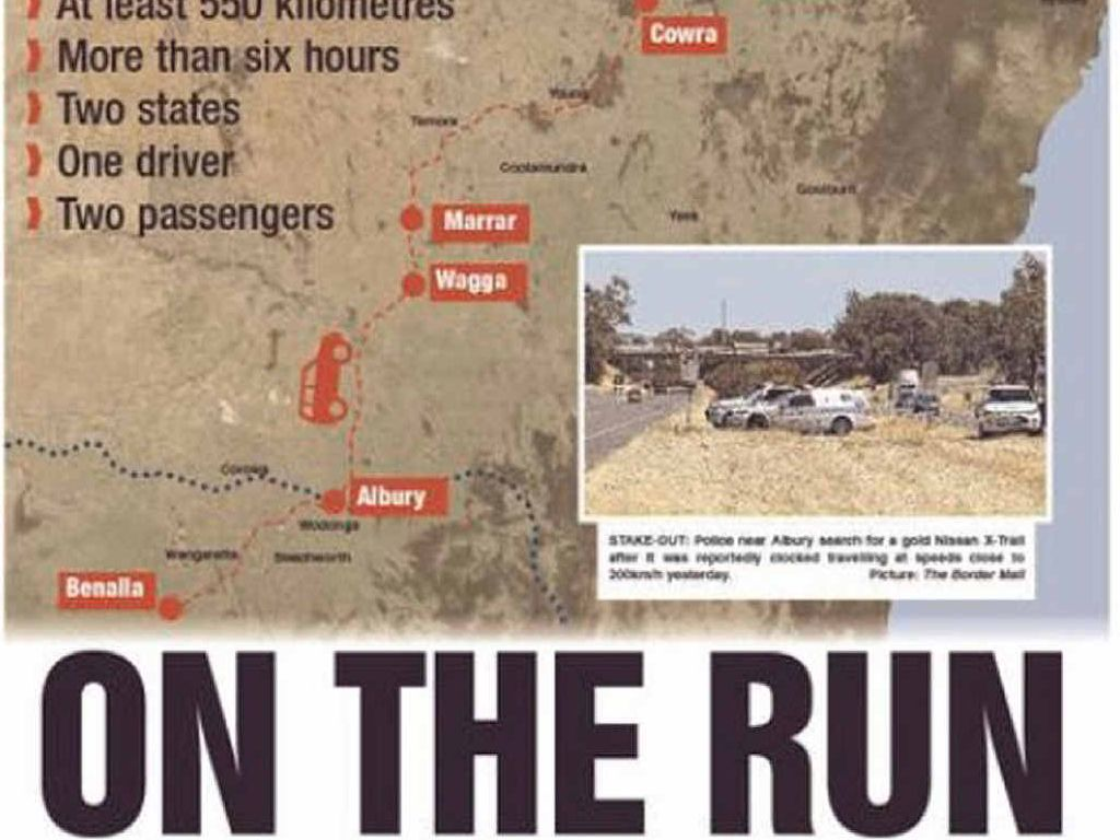 ON ROAD: Police wait (top left), the thieves drive (top right) and the Wagga paper reports.