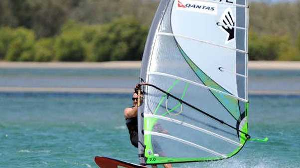 Windsurfing action during the Queensland Freerace Series at Golden Beach, Caloundra.