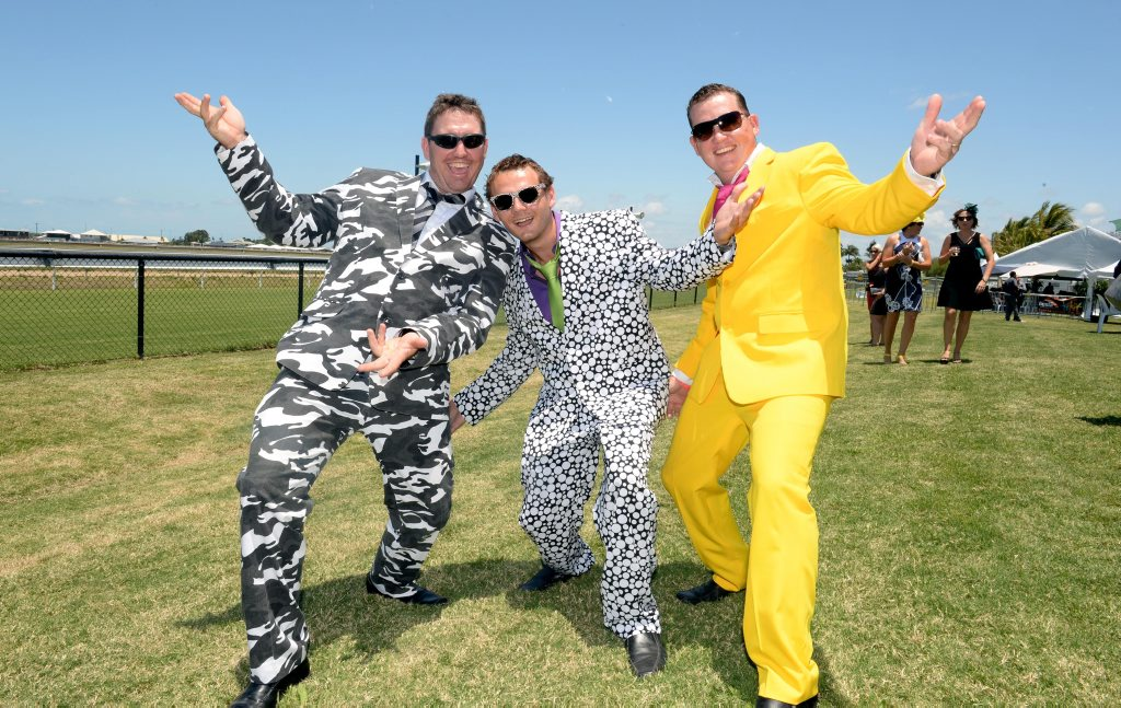 Luke Wiles, Matt Borg and Matt Sander at the Mackay Raceday for Melbourne Cup.